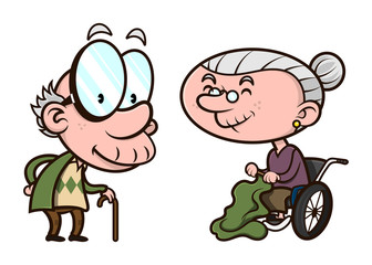 Couple of Elderly activity, old man walking slowly with stick, old woman sit in wheelchair while weaving cloth, married couples happy until old age Cartoon Vector