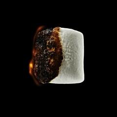 Roasted marshmallow on black background