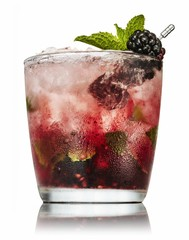 Beverage with blackberries isolated on white background†
