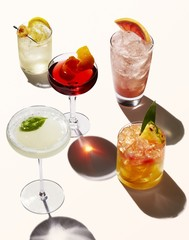 Varieties of beverage drinks isolated on white background