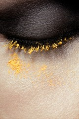 Close up of woman's eye makeup
