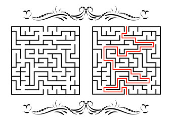 Abstract square maze. Game for kids. Puzzle for children. One entrance, one exit. Labyrinth conundrum. Flat vector illustration isolated on white background. With answer. With a vintage border