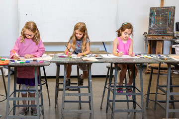 Young girls drawing
