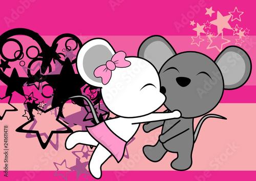 cute mouse couple kawaii cartoon valentine love background