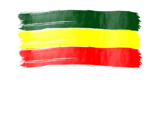 rasta flag painted on white