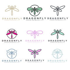 unique dragonfly logo template. simple shape and color. vector. editable. Minimalist elegant Dragonfly logo design with line art style.