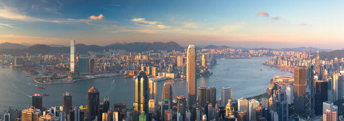 Skyline of Hong Kong Island and Kowloon from Victoria Peak, Hong Kong Island, Hong Kong, China Fotomurales
