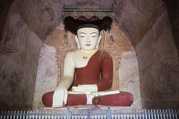 Giant buddha statue in temple in Bagan