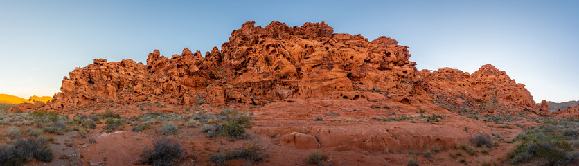 Valley of Fire panorama of sandstone rock formation in the morning