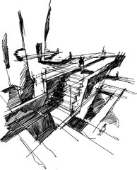 hand drawn architectural sketch of a modern fantastic  abstract architectural structure