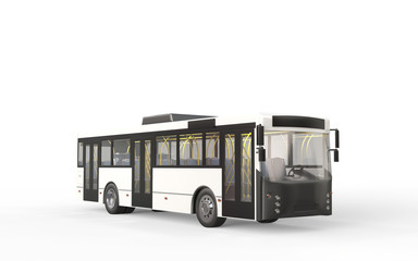 City bus on white backgroud. 3D rendering.
