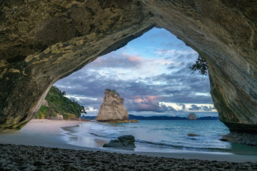 Poster Cathedral Cove view from the cave at cathedral cove,coromandel,new zealand 6