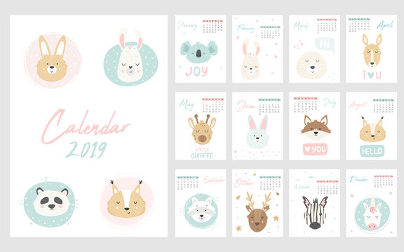Calendar 2019. Cute monthly pages with animals