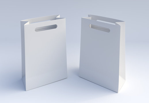 Two Paper bags mockup on white background. 3d rendering.