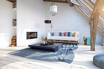 modern attic interior design. 3d rendering concept
