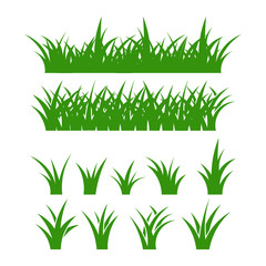 green grass, decoration in a flat style, cartoon decoration