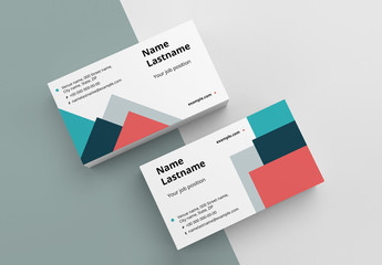 Business Card Layout with Colorful Shapes