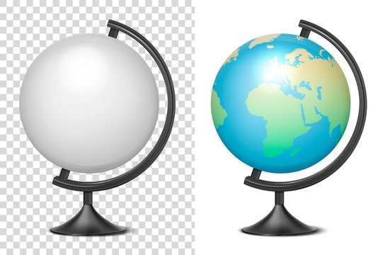 Vector Realistic 3d Globe of Planet Earth blank and with Map of World Icon Closeup Isolated on White Background. Design Template of School Globe on Table, Model of Earth for Graphics, Clipart, Mockup