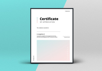 Award Certificate Layout with Gradient Elements