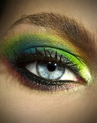 Close up of woman's eye with eyeshadow