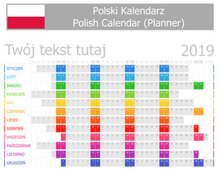2019 Polish Planner Calendar with Horizontal Months on white background