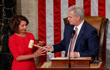 Pelosi receives the gavel during the start of the 116th Congress on Capitol Hill in Washington
