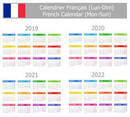 2019-2022 French Type-1 Calendar Mon-Sun on white background