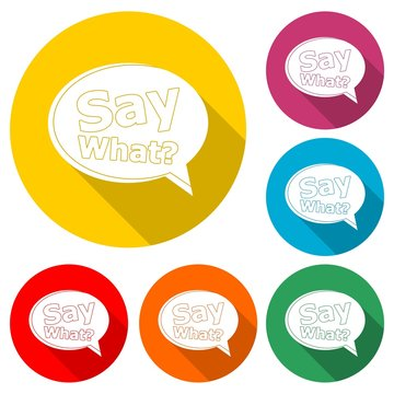Text sign Say What Question, Say What? icon or logo, color set with long shadow