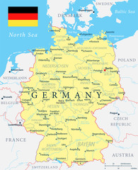 Germany Map - Yellow - Highly detailed vector illustration