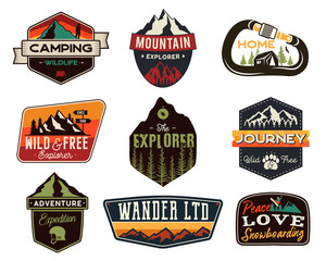 Vintage outdoors logos set. Hand drawn mountain travel badges, wildlife emblems. Camping labels concepts. Explorer illustrations. Stock vector patches isolated on white background.