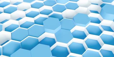 blue navy Hexagon Background - 3D rendering - Illustration