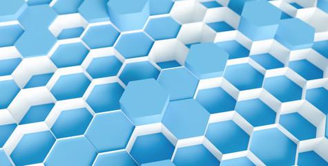 blue Hexagon honeycomb Background - 3D rendering - Illustration