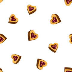 Seamless pattern with heart-shaped cookies with berry jam. Hand-drawn with markers and watercolors on white background.