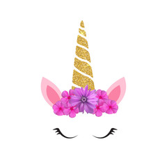 Cute unicorn head and eyes with flower. Vector Illustration