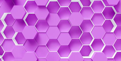purple Hexagon Background - 3D rendering - Illustration