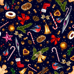 Festive seamless pattern with winter holiday attributes on dark blue background with white snow dots. Illustration of  gingerbread, bullfinch, cookies, candy cane, sweets, nuts, red bow, bell.