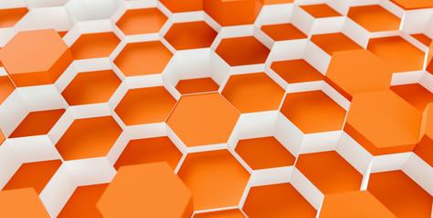 orange Hexagon honeycomb Background - 3D rendering - Illustration