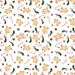Seamless pattern with gingerbread man, candy cane, anise star and holly. The illustration is drawn by hand with markers and watercolors.