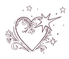 Hand drawn black and white heart with floral ornament. Vintage design elements, wedding, birthday, valentines day concept