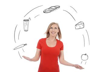 femme jonglant avec alimentation équilibrée