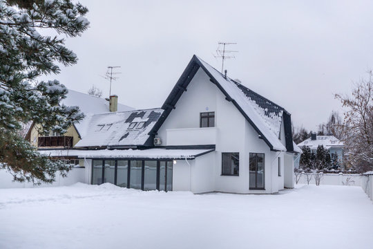 Residential house in snow on winter season