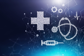 White medical interface over dark blue