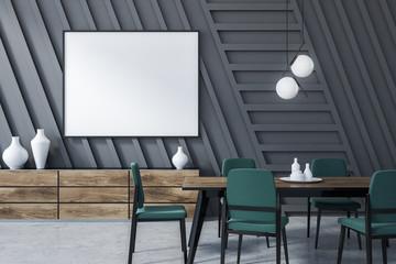 Gray dining room, horizontal poster