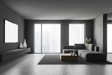 Gray living room interior with tv