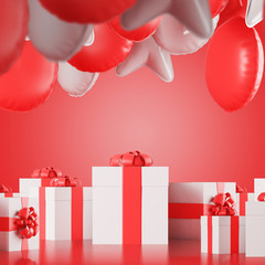 White and red presents and balloons