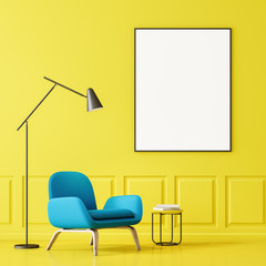 Blue armchair and poster in yellow living room