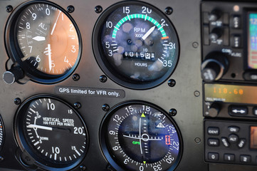 Close up of instrument panel in an aircraft