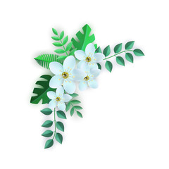 Vector spring white flowers with leaves pattern. Beautiful apple tree or cherry blooming floral for romantic decoration wedding marriage or dating card vintage design. Gentle summer plant illustration