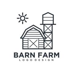 farmhouse logo, agriculture vector, eco products, black emblem, natural product, Simple Minimalist Barn Farm Logo design inspiration