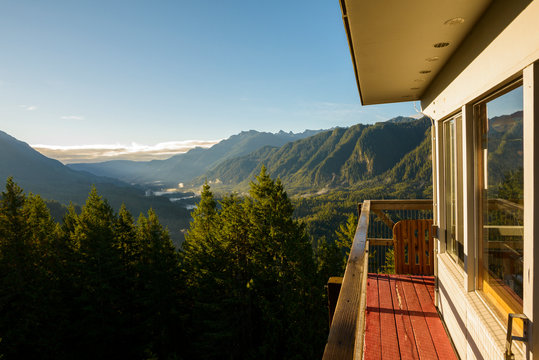 View of mountains from Heybrook Lookout tower against sky